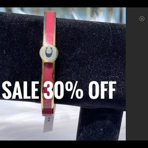 Coach Iconic Glitter Red Enamel Bangle Bracelet